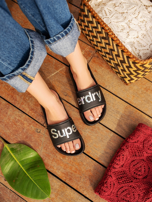SUPERDRY HOLOGRAPHIC INFILL POOL SLIDERS